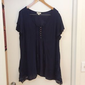 One World Navy Tunic Top Size M